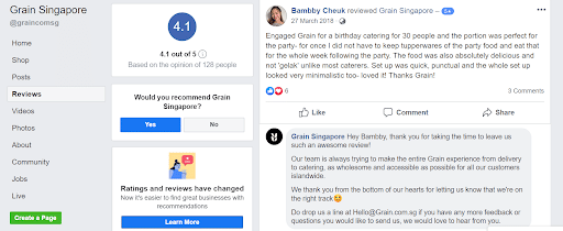 facebook page for local searches review reply