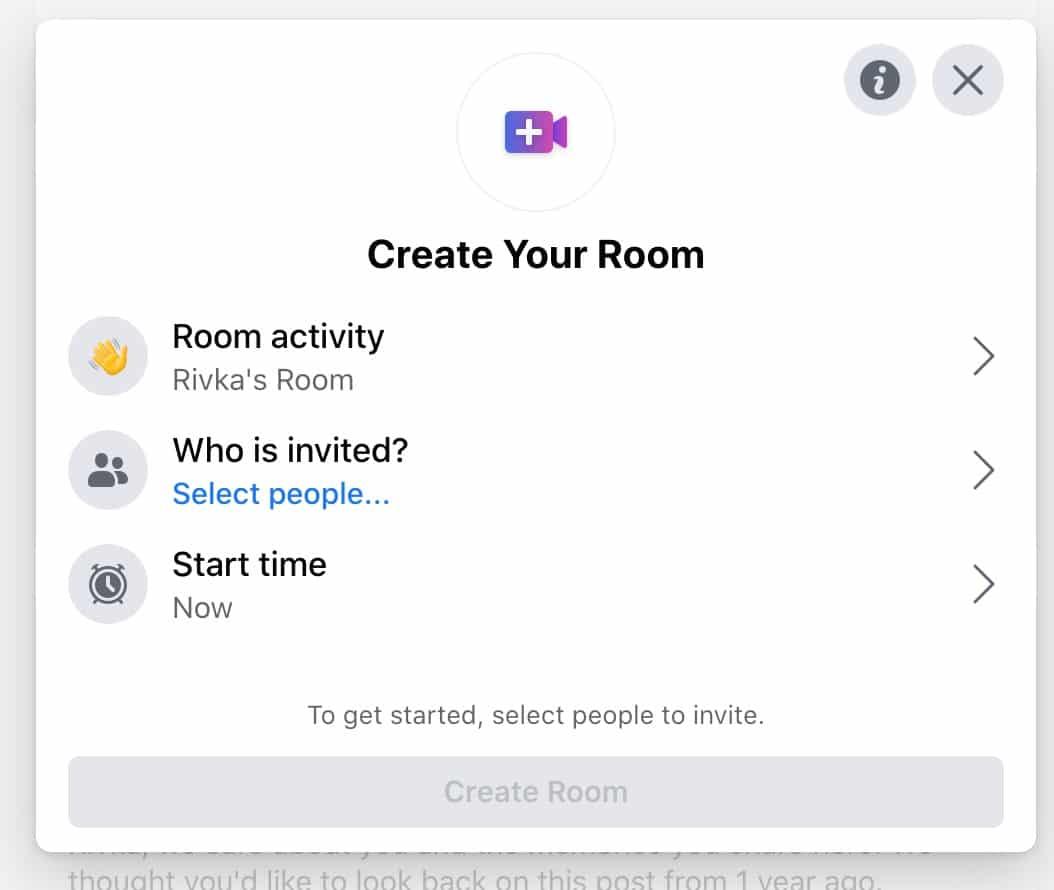 create your room in facebook messenger room