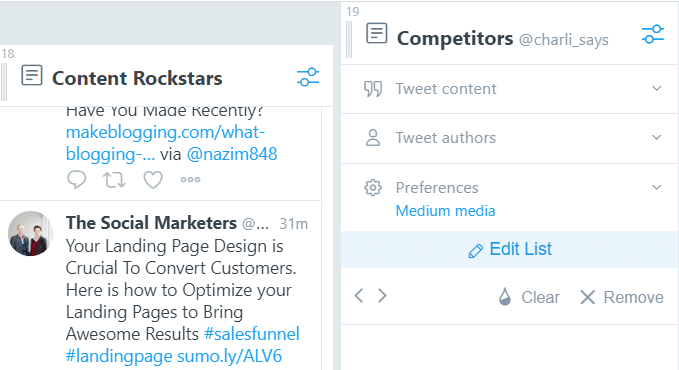 make a twitter list of the competition