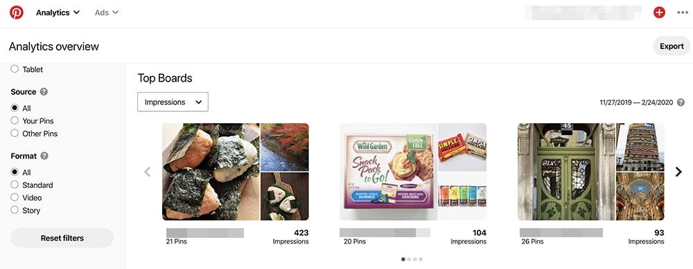 Pinterest Analytics - top boards