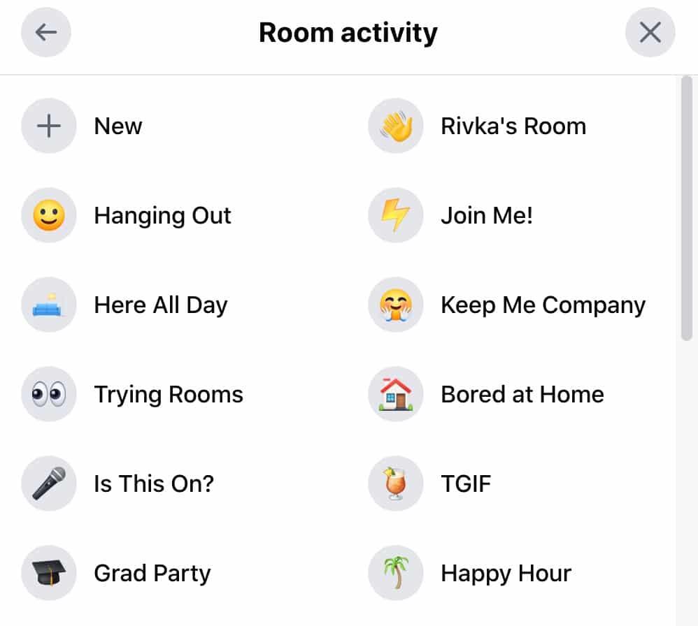 room activity in facebook messenger room