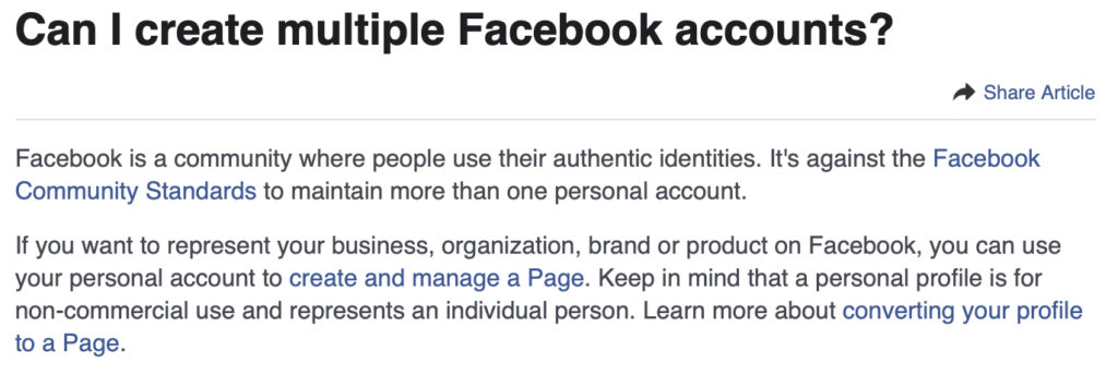 why you shouldn't have more than one Facebook profile