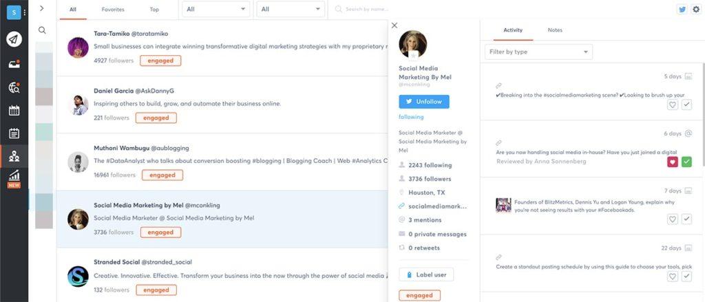 social media dashboard - social CRM
