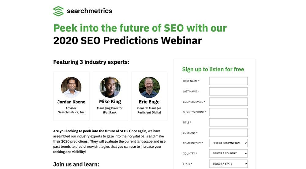 social media landing page - Searchmetrics 2
