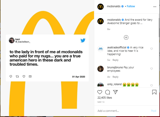 example of using user-generated content for your instagram channel