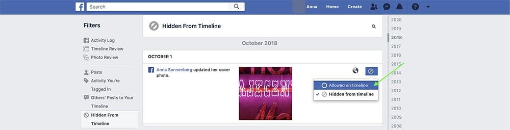 how to unhide a Facebook post on desktop - step 4
