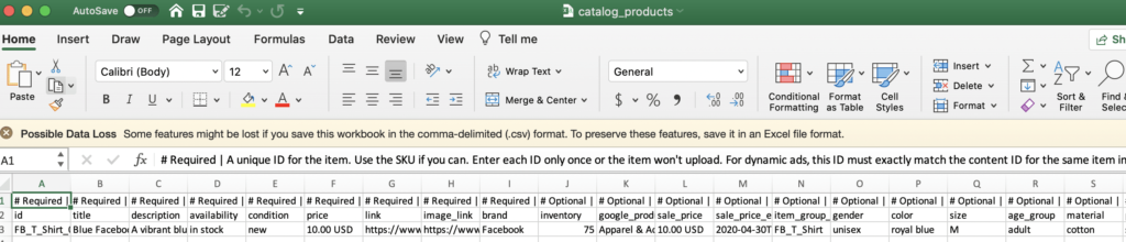 upload catalog and fields for dynamic ads