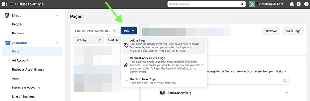 how to add a Facebook Page in Facebook Business Manager
