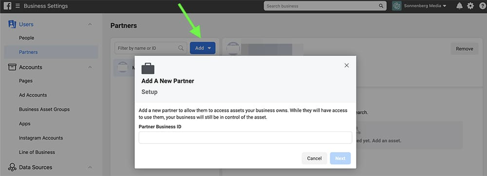 how to add agencies and partners in Facebook Business Manager