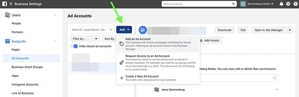 how to add an ad account in Facebook Business Manager
