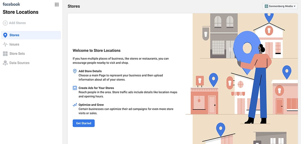 how to add store locations in Facebook Business Manager