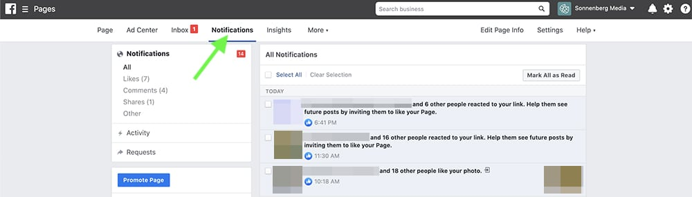 how to check notifications in Facebook Business Manager