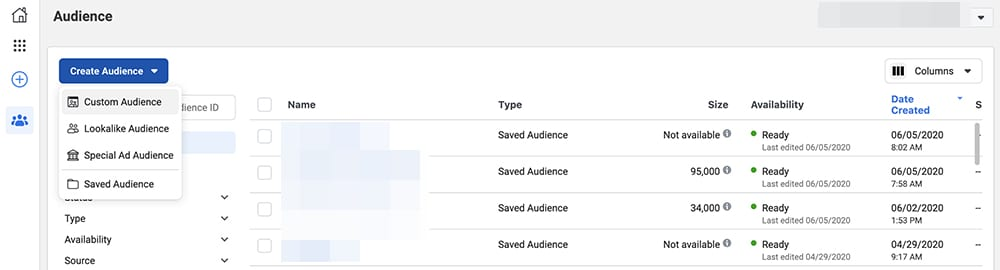 how to create audiences in Facebook Business Manager