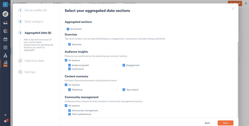 select your aggregated data sections