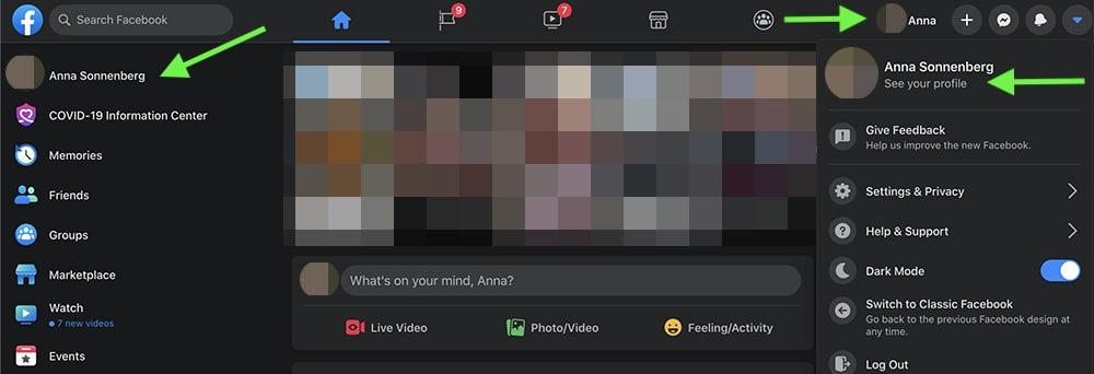 how to hide a Facebook post on desktop - step 1