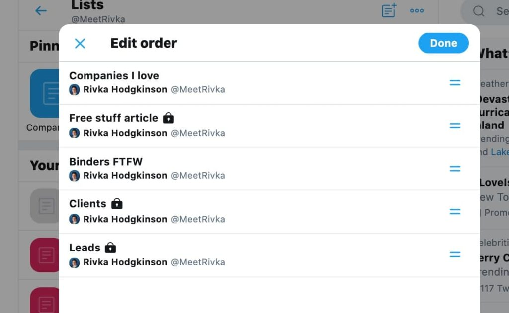 how to reorder pinned Twitter lists