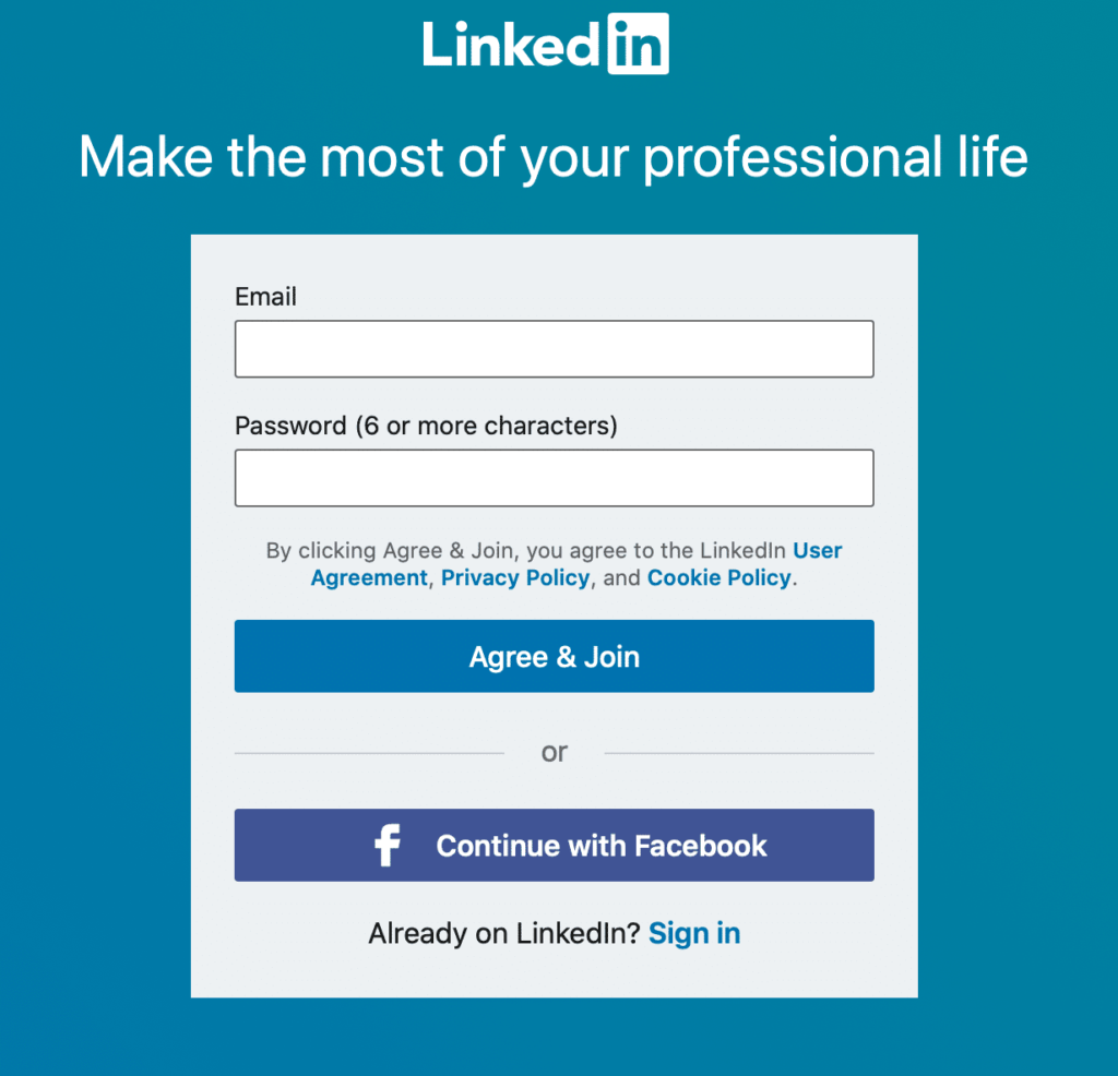 sign up for your linkedin account