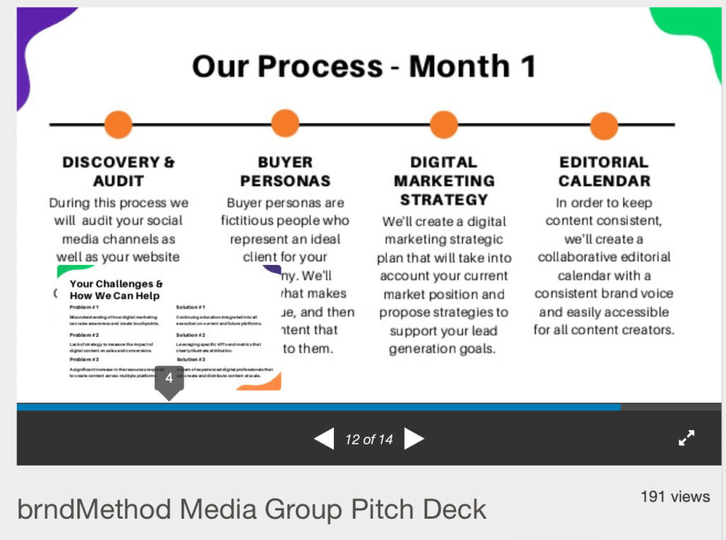 what to mention about the process in an agency pitch deck