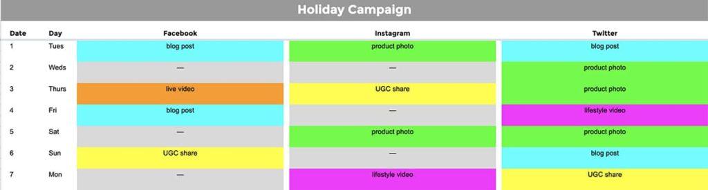how to create a social media campaign - campaign calendar