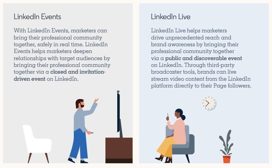 comparison between linkedin live and linkedin events