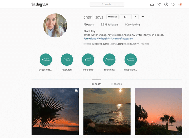 Instagram page example