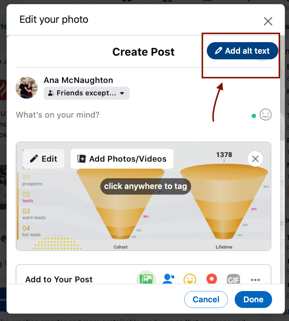 Screenshot showing how to add alt text to LinkedIn images