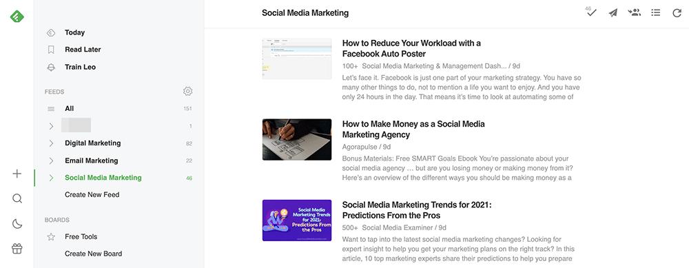 use Feedly to read social media news