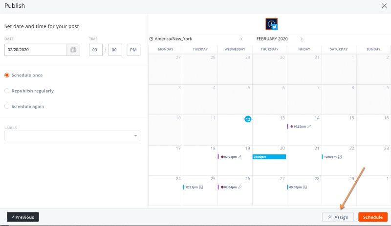 Agorapulse Shared Calendar assignment