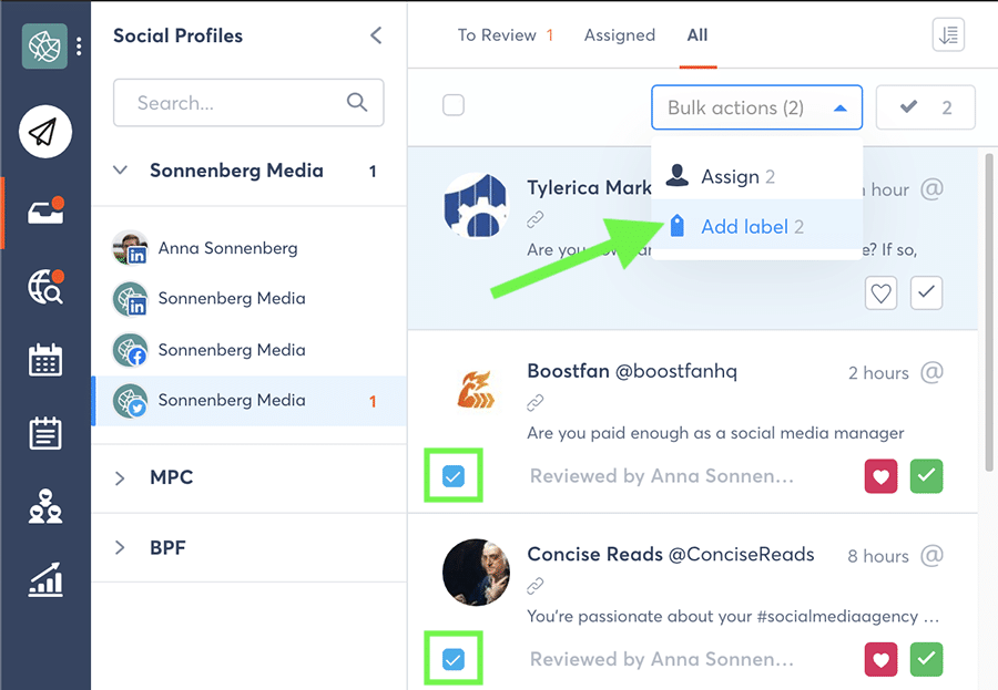 Agorapulse bulk inbox actions