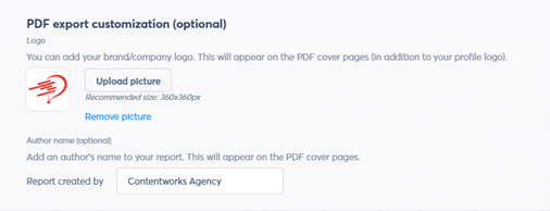 Optional PDF export customization