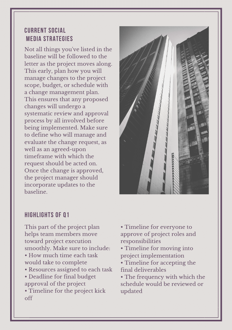 Canva quarterly report template