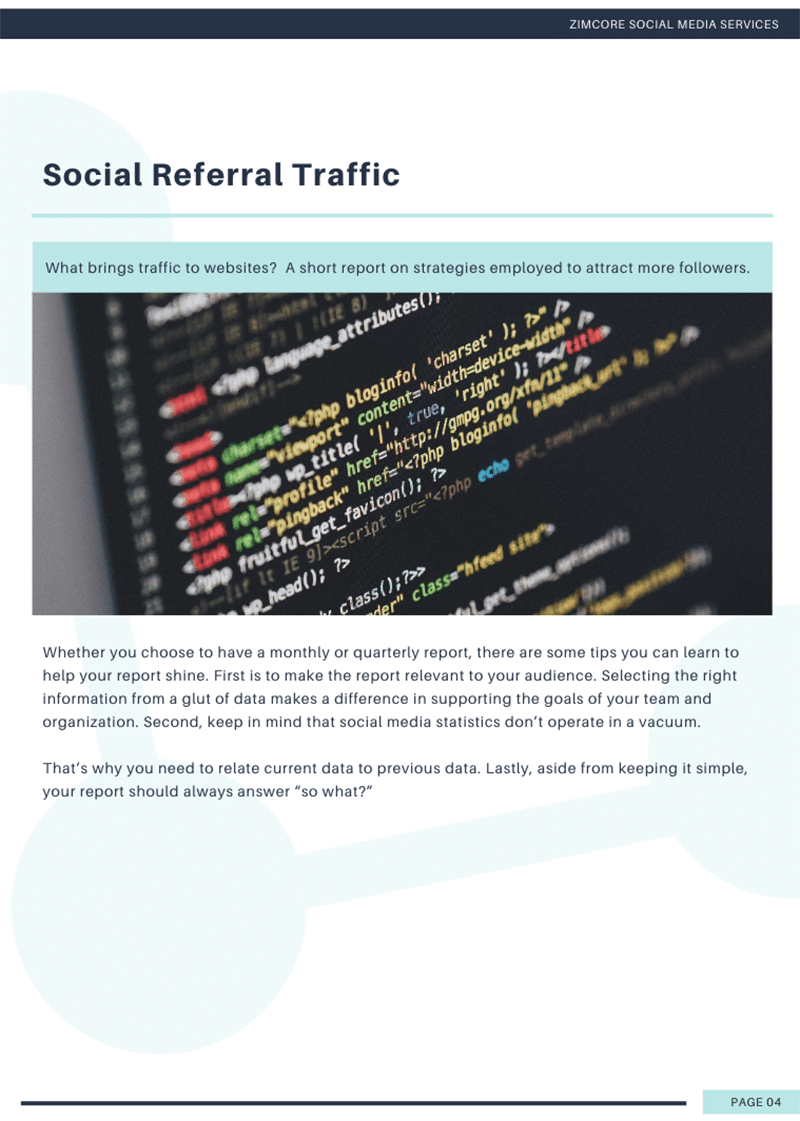 Canva social media report template