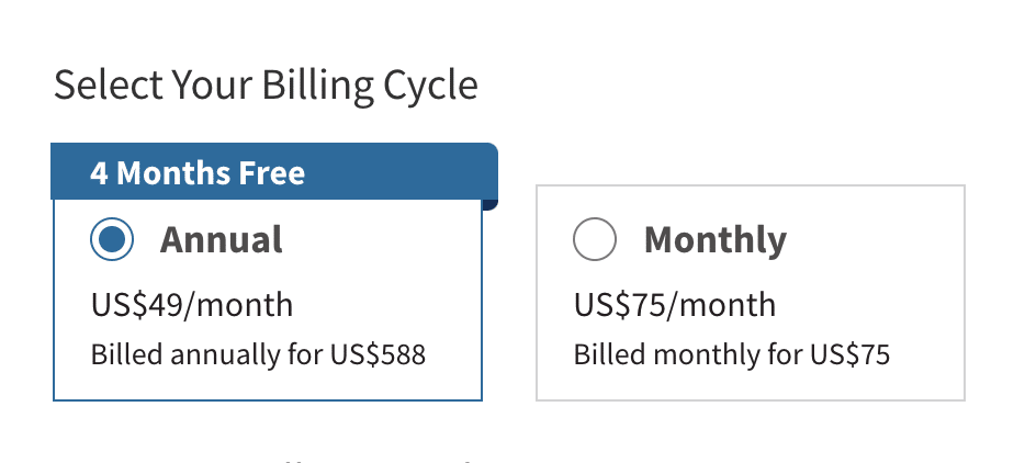 Hootsuite pricing plan with annual price