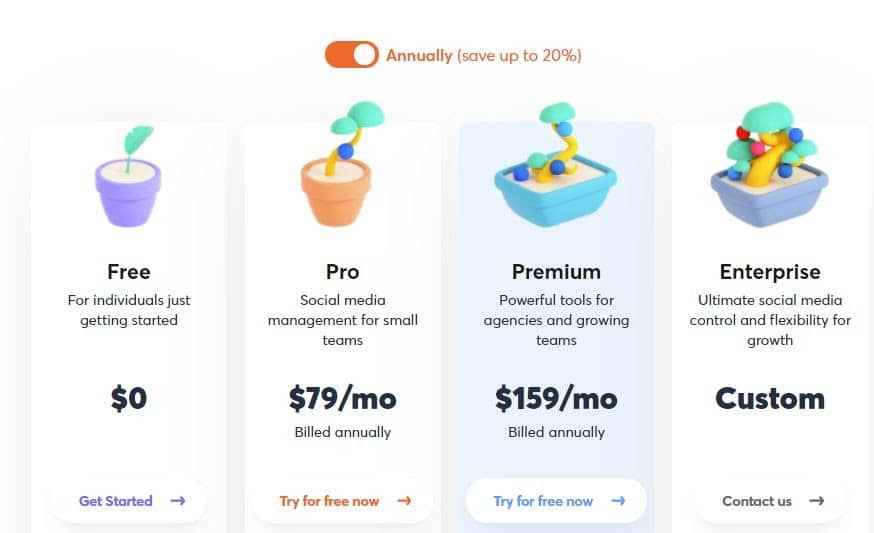Annual pricing for Agorapulse