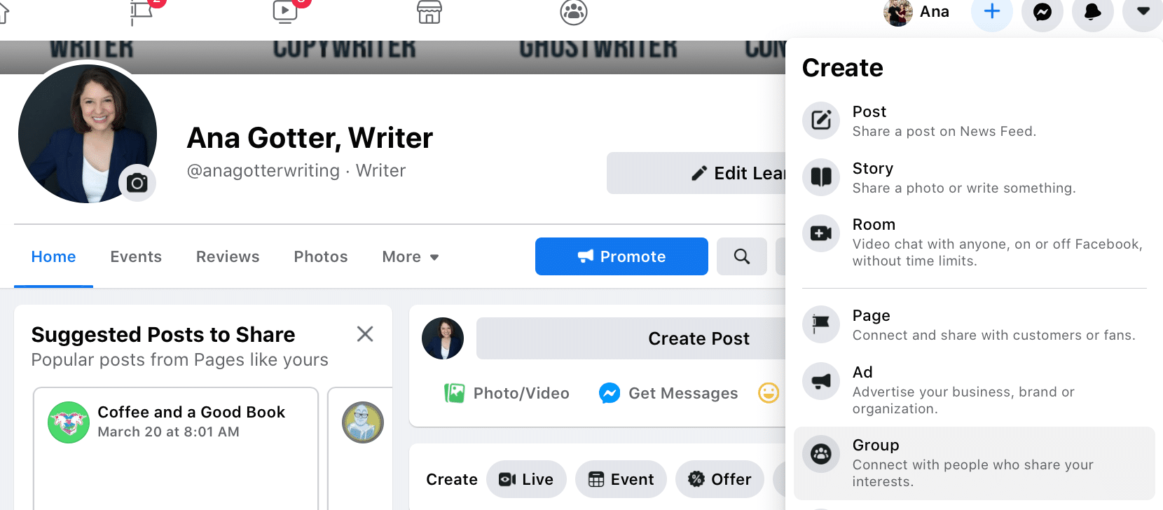 Click on the + next to your name on Facebook to create a Facebook group.