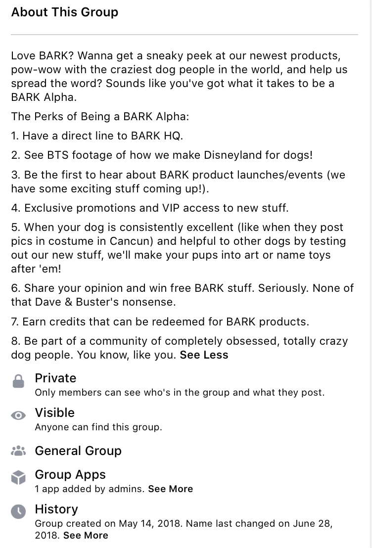 Group description for Bark Box