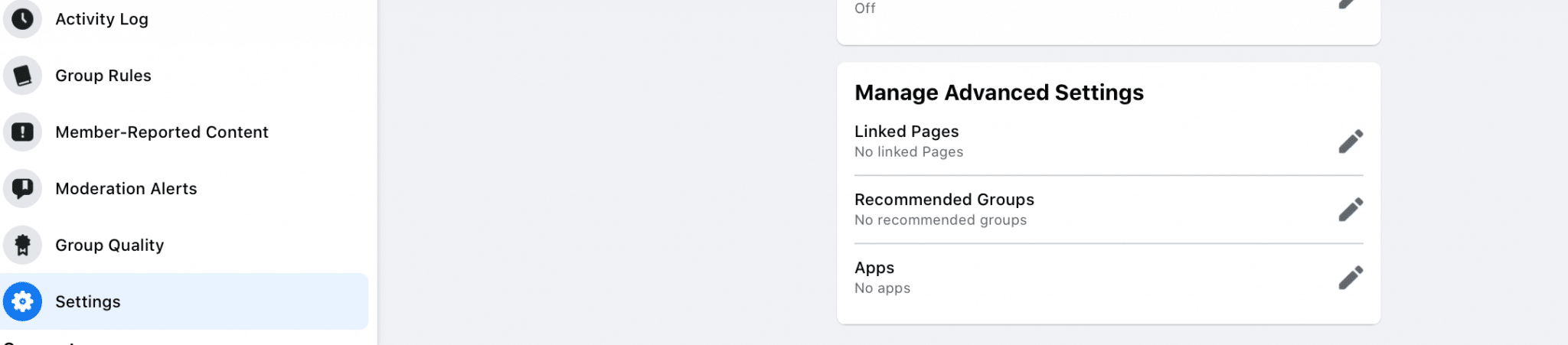 Settings page for Facebook Groups
