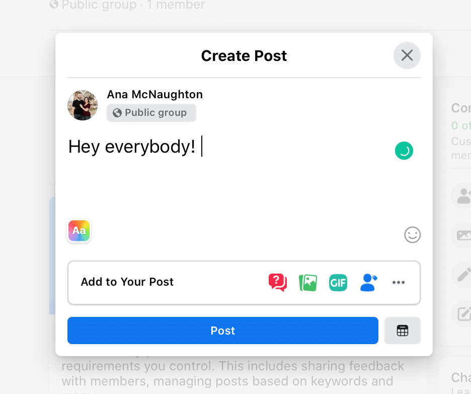 How to post in a Facebook Group