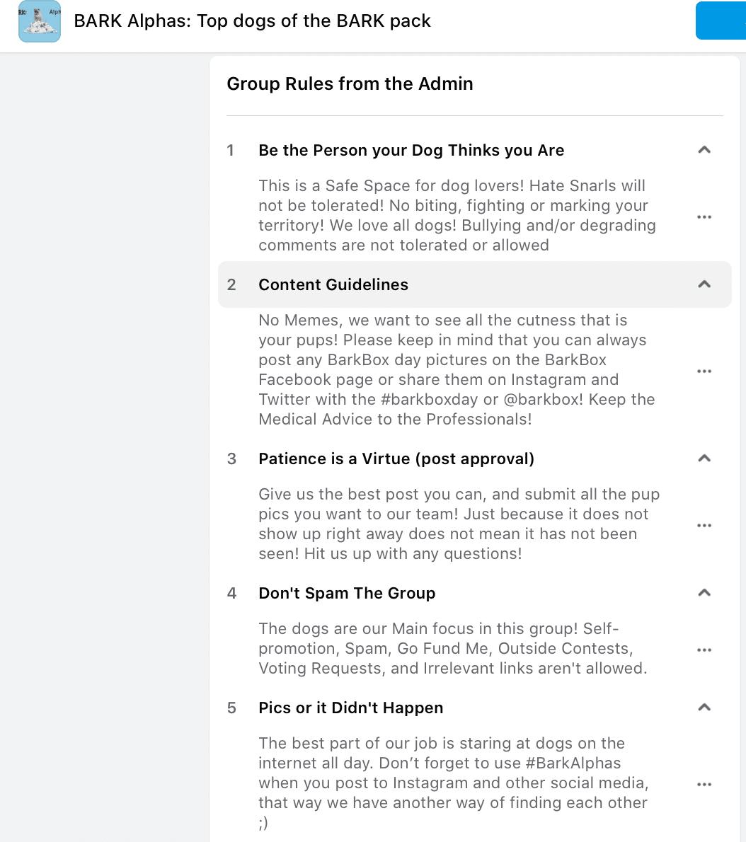 Bark Alphas Facebook group rules
