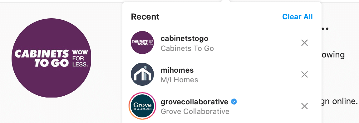 Instagram search results