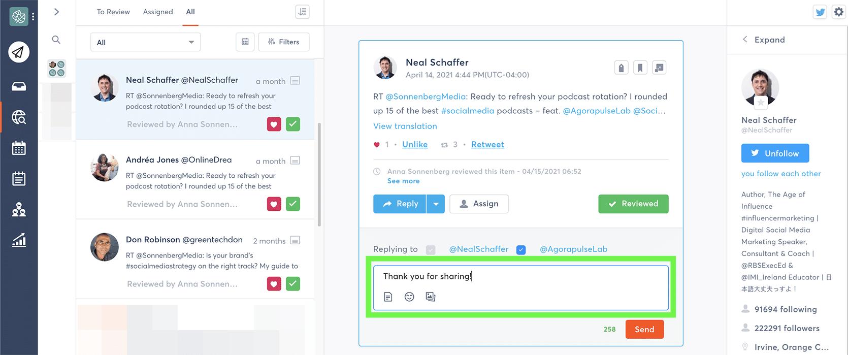 Agorapulse - how to respond to brand mentions