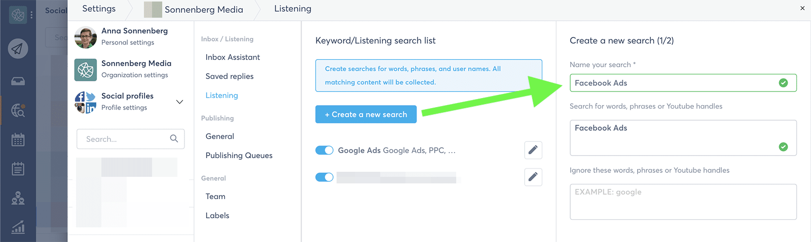 Agorapulse - social listening search
