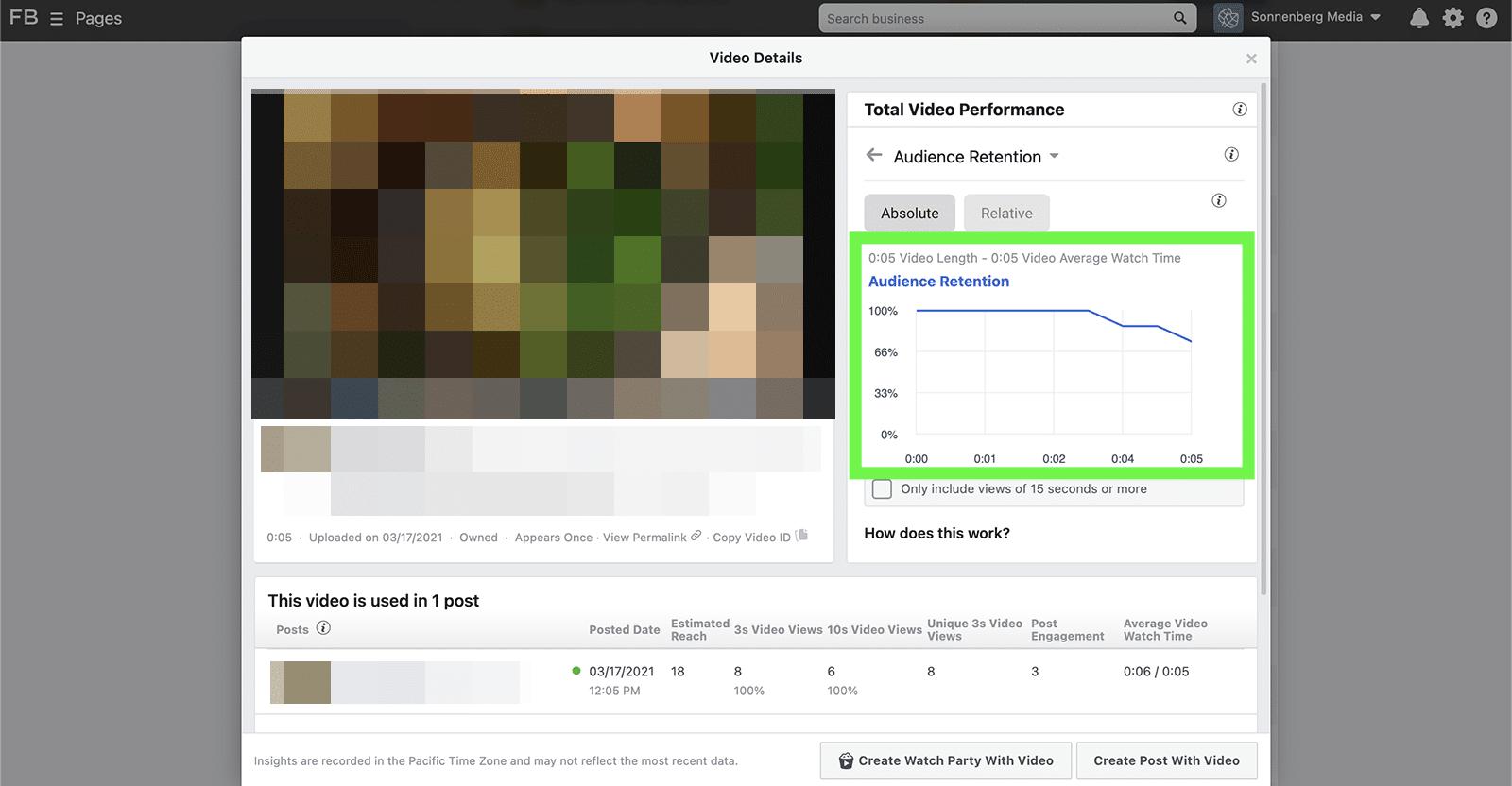 Facebook video retention metrics