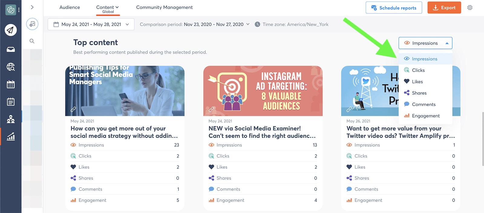 LinkedIn metrics - top content
