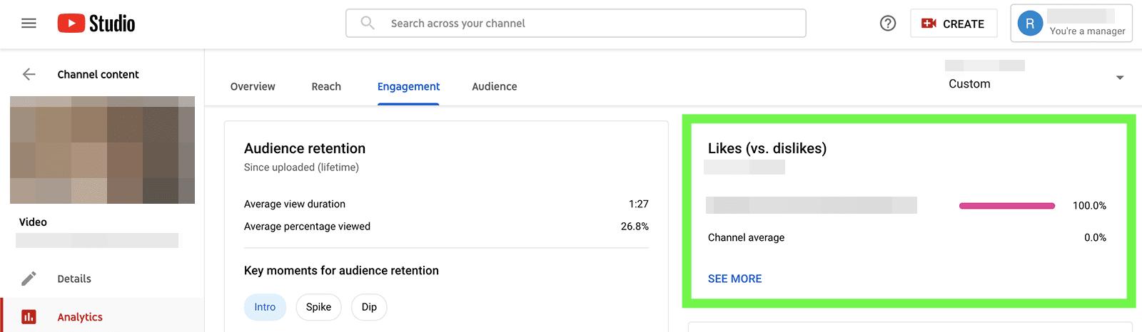 YouTube metrics - likes vs dislikes