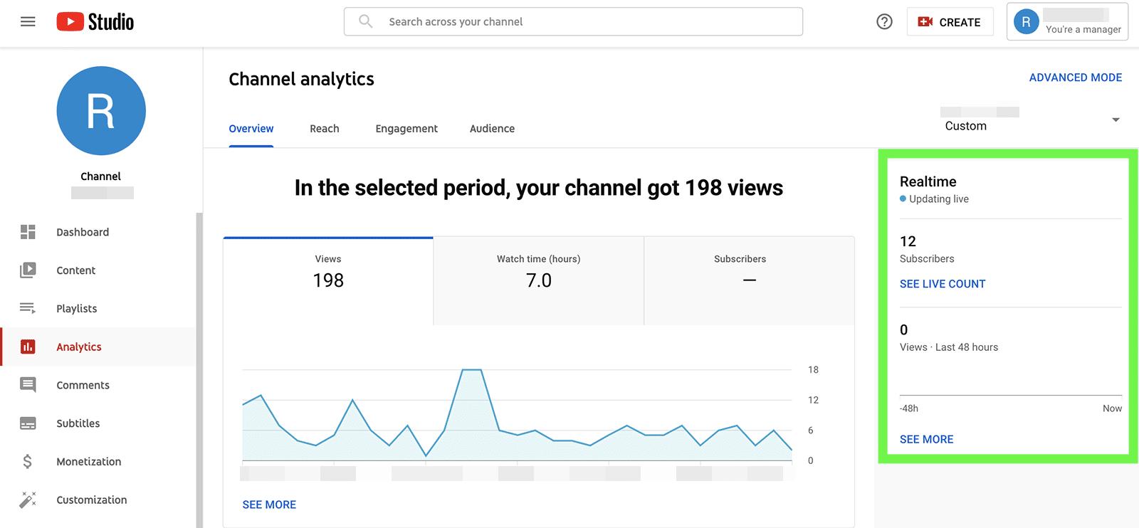 YouTube metrics - real time