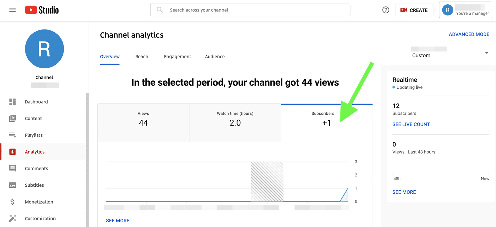 YouTube metrics - subscribers