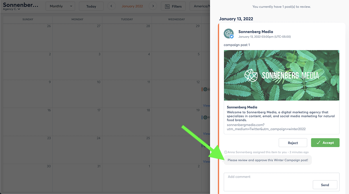 Social media campaign Agorapulse Shared Calendar