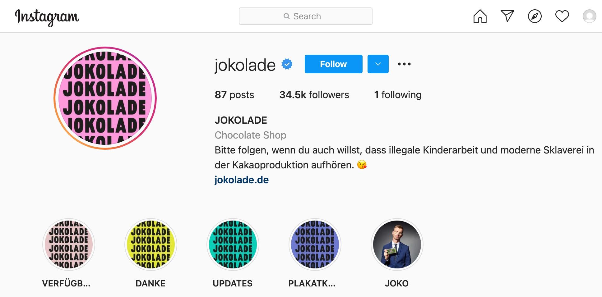 JOKOLADE Instagram Profil