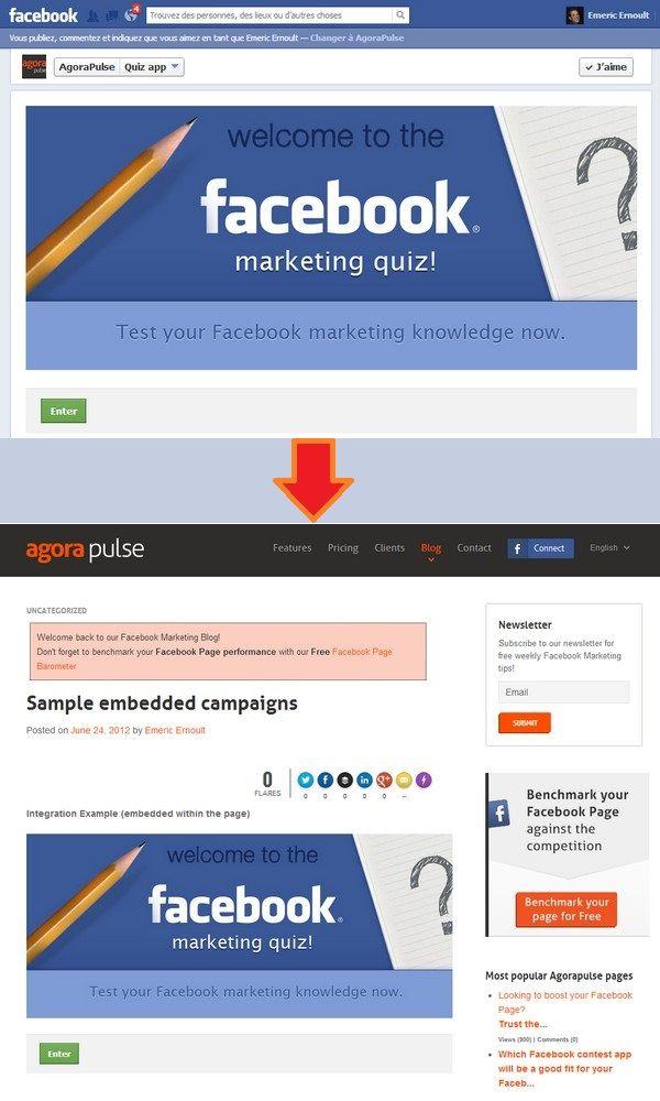 Agorapulse ofrece una opción que te permite incluir tu concurso de Facebook directamente dentro de tu blog o página web. Una manera cómoda de aprovechar el tráfico existente de tu web e impulsar la participación en tu Instant Win de Facebook.